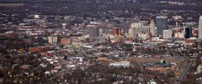 Aerial Photograph of the WInston Salem Dash ballpark and skyline. (c) Ed Simmons Aerial Photography