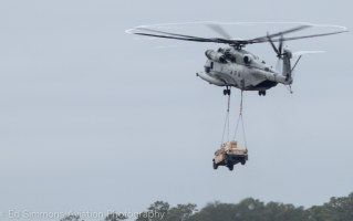 CH-53 Sea Stallion carrys a Humvee to the flightline at the MCAS Cherry Point Airshow, 2016. (c) Ed Simmons Photography